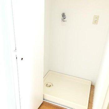 洗濯機置き場。扉も付いてますよ!