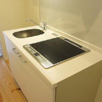 キッチンの詳細。2口IHでちょうどいい大きさ※写真は別室