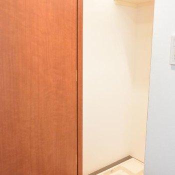 玄関脇に隠れてる洗濯機置き場※画像はクリーニング前のものです