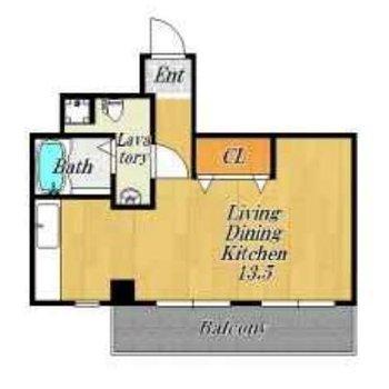 最上階のワンルーム空間。