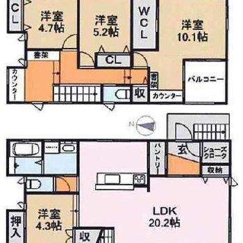 お部屋たくさん、収納たっぷり