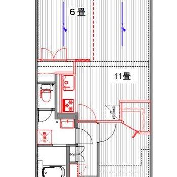 この間取。奥のお部屋はカーテンレールでの仕切りにしているので、柔軟な間取作りが可能