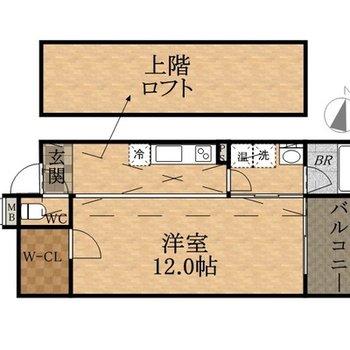 ロフトが付いて天井も高い住空間。