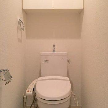 トイレは普通かな。収納があるのは嬉しいですよね。