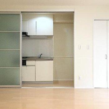 キッチン。ドアを閉めて隠すこともできますよ!