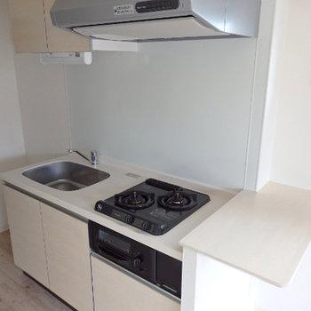 キッチンは2口・ガスコンロ付き。ちょっとしたカウンターも付いています
