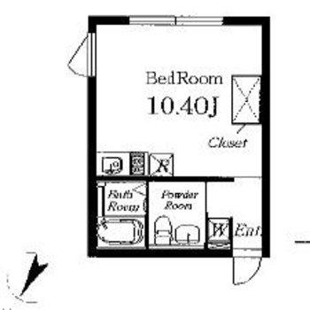 すっきりワンルームです。※同じ間取りの別部屋です