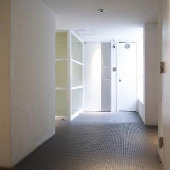 共用の廊下も白のスタイリッシュ!