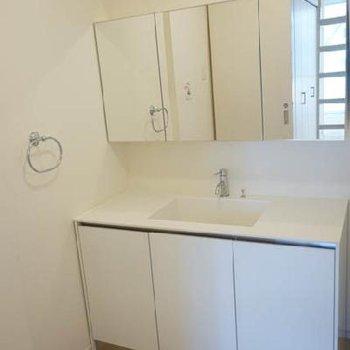 洗面室広々!!脱衣スペースも十分あります。※写真は反転タイプ
