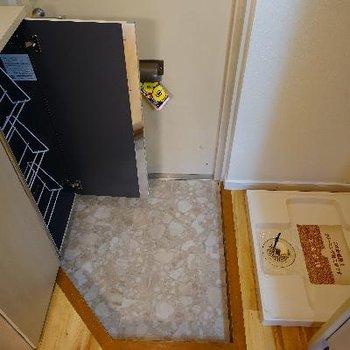 玄関に洗濯機と下駄箱です♪