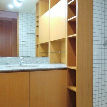 収納スペースの多い洗面。