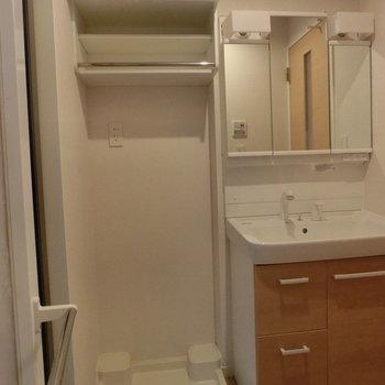 洗濯機収納が心強い※写真は2階の同間取り別部屋のものです
