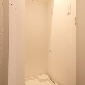 玄関左横の洗濯機置き場です