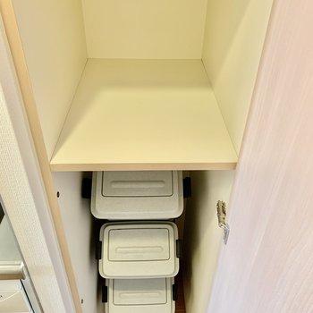 そのお隣には棚。ゴミも整理できそうです。