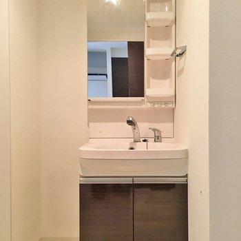 立派な洗面台!こちらもブラウンがかわいい。