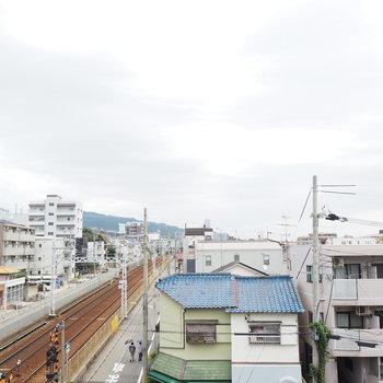 阪急の線路沿い!