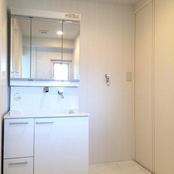 脱衣所スペースは広めです※写真は3階の同間取り別部屋のものです