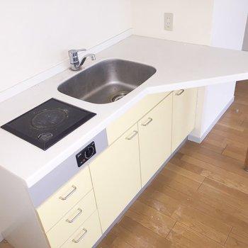 キッチンには調理スペースが。うれしいですね。※写真は通電前のものです