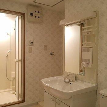 お風呂、洗面台、トイレはお行儀よく並んでます。