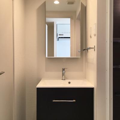独立洗面の鏡の裏も収納タイプ◎
