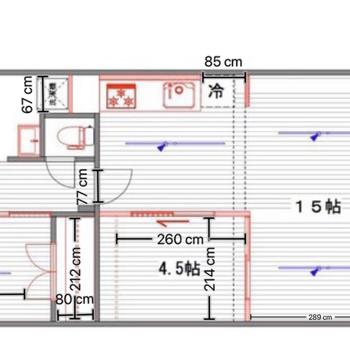 冷蔵庫置場など、お部屋の中のサイズが気になる場所を採寸して記載しています!是非、実際の暮らしの参考に◎