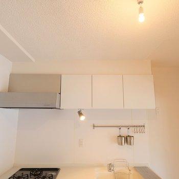 キッチンに1つ、リビングに2つ、ライティングレールがあります!ダウンライトを垂らしてお気に入りの空間に。