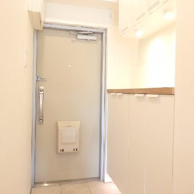 玄関はこちら。小物置きスペースも有り。関節照明がいい感じ。