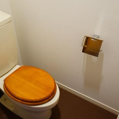 トイレは木製便座に♪