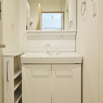 洗面台と横にちょこっと収納。