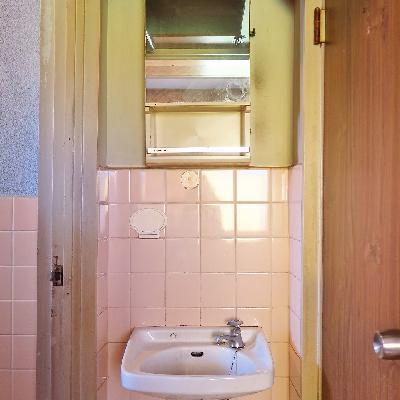 洗面台はなくなり、脱衣スペースになります。※写真は現状