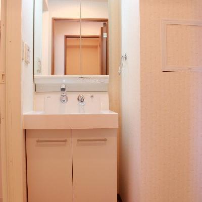 きれいな独立洗面台、横には洗濯機を※写真は別部屋