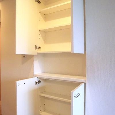 キッチンの後ろに浅めの棚があります。コップとか入る。