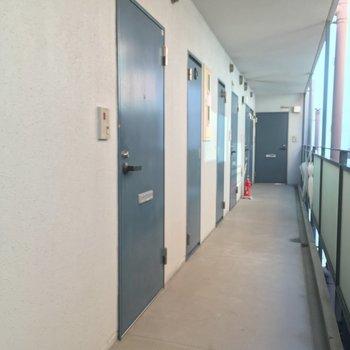共用部はスカイブルーの扉がズラリ※写真は前回募集時のものです