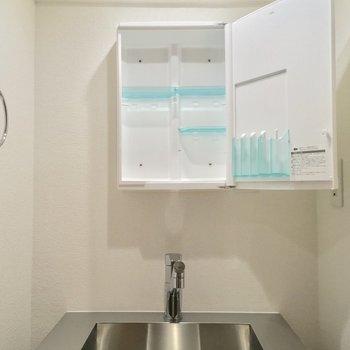 洗面台もキッチンと同じくステンレス!鏡の中が収納なんです〜※写真は前回募集時のものです