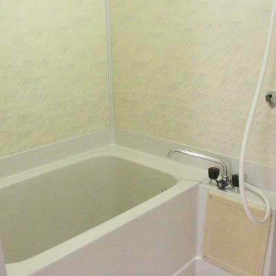 浴室には昔の面影も。とはいえ、とっても清潔