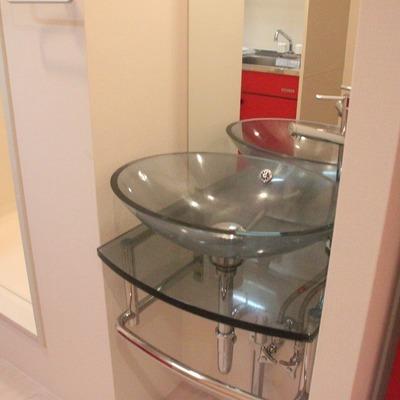 このガラス張りの洗面台が生きるのは、この部屋だからこそ!