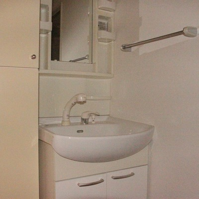 シャワー付き、大きな洗面台を完備(通電前のためフラッシュ使用)