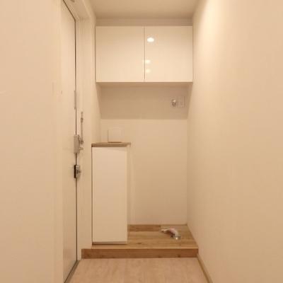 玄関に洗濯機置き場があります