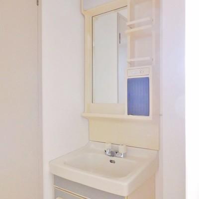 独立洗面台もシンプルそしてちょっぴりレトロ。