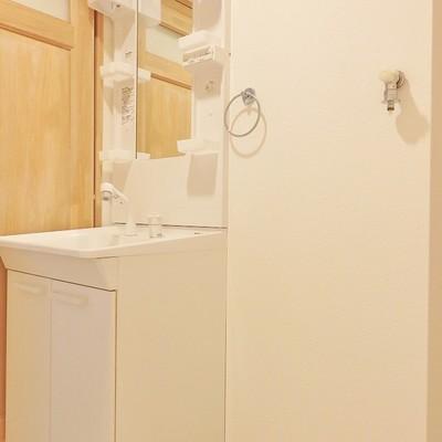 洗面台は清潔感が肝心でしょ。手前には洗濯機を置いて。