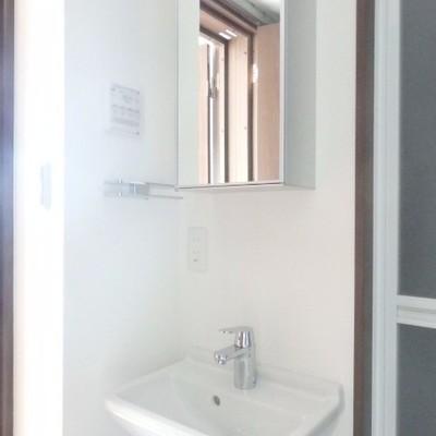 洗面台はちょっと狭め…鏡の中にも収納出来ますよ!