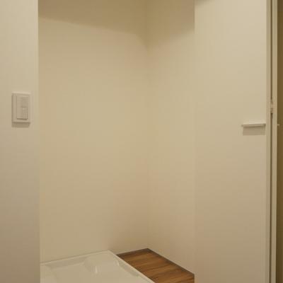 洗濯置き場は、隠せるタイプ。