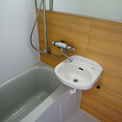 お風呂は木目シートと大きな鏡を!
