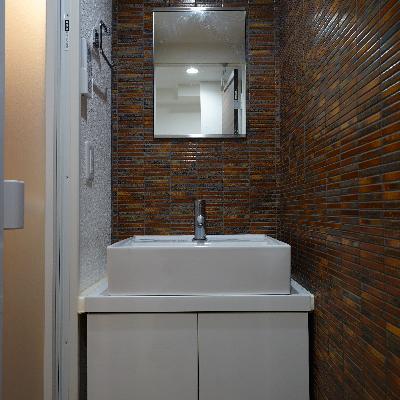 洗面台のタイルの雰囲気、いいですね!