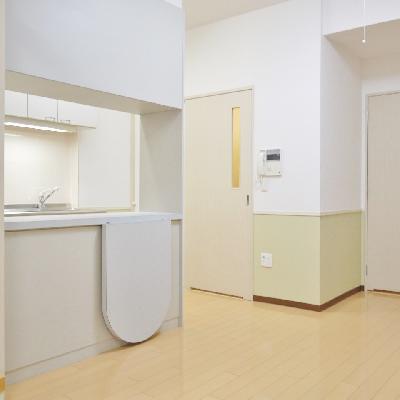 キッチンの後ろは食器棚兼カウンター。