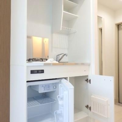 収納はこんな感じ、ミニ冷蔵庫付きです