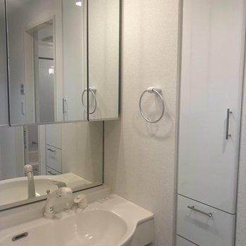 鏡が大きな洗面台
