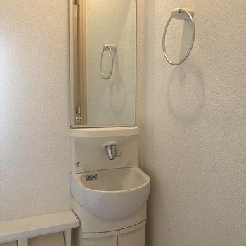 と思ったら洗面台が付いていました!しかも鏡付き