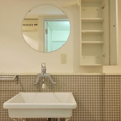 可愛らしい丸い鏡。
