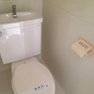 シンプルなトイレ※ブレーカーが上げられず暗くてすみません。